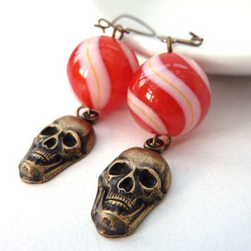 Red and White Stripes Glass Bead and Brass Skull Earrings