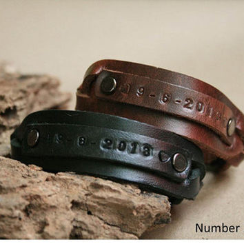 2x Bracelet Matching Leather Bracele
