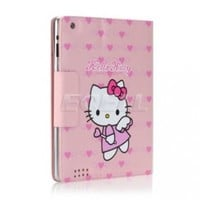 Ecell - PINK HEARTS HELLO KITTY LEATHER CASE & STAND FOR iPAD 2