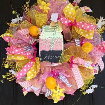 Lemonade deco mesh wreath, deco mesh mason jar wreath, Summer deco mesh wreath,Spring deco mesh wreath, Spring mesh wreath,front door wreath