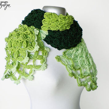Crochet Solomons knot emerald green spring green pale green three color scarf multicolor lace wrap shawl