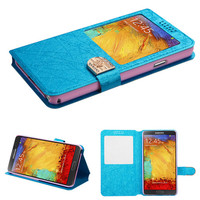 Book-Style View Flip Stand Wallet Case for Galaxy Note 3 - Blue