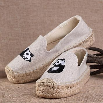 Soludos Women Thick Bottomed Panda Embroidered Straw Shoes