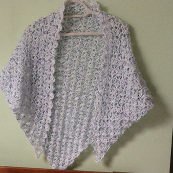 Light White Shawl, Light White Wrap, Triangle Shawl, Triangle Wrap, Crocheted Shawl, Crocheted Wrap, Light Yarn Wrap, Light Yarn Shawl