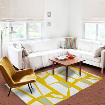 White and Yellow Rug - Geometric Rugs - Affordable rugs - 5x8 rug - Modern Area Rug