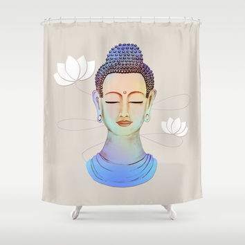 Buddha Shower Curtain by Vanya