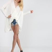Relaxed Drapey Long Sleeve Top - Ivory