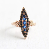 Antique Edwardian 10k Rose Gold Navette Ring - Vintage Victorian Early 1900s Size 6 Marquise Blue & Gray Paste Stone Statement Fine Jewelry