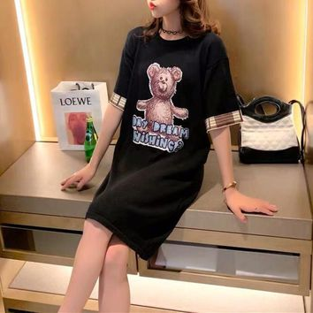 """Gucci"" Women Loose Cute Letter Bear Pattern Short Sleeve T-shirt Dress"
