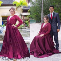 Luxury Dark Red Beaded Plus Size Prom Dresses 2017 Long Sleeve Burgundy Prom Dresses Plus Size Chic Evening Party Dress