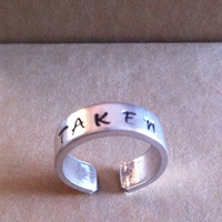TAKEN Ring - Aluminium - Hand Stamped - Custom Made Cuff Ring
