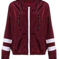Trendy ZAN.STYLE Spring Women Contrast Ribbons Trim Zip Up Hooded Jacket Striped Patched Sleeve Girl Coat Outwear Jacket With Pocket AT_94_13