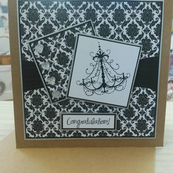 Congratulations  greetings card glamorous card brown 6x6 craft card Birthday, wedding, anniversary, new job etc