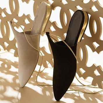 Newest Design Suede Leather Flat Shoes Pointed Toe Lace Up Woman Shoes Gold Rope Strappy Gladiator Sandals
