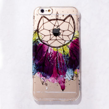 Clear Multicolor Cat Dreamcatcher Tribal Boho iPhone 6S/ 6 case
