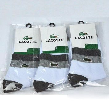 DCCKNQ2 LACOSTE Woman Men Cotton Socks-1
