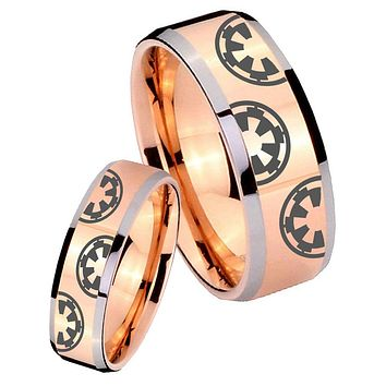 His Hers Rose Gold Beveled Star Wars & Galactic Empire 2 Tone Tungsten Wedding Rings Set