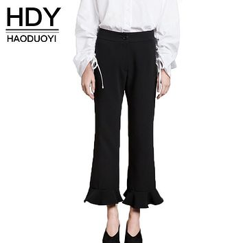 HDY Haoduoyi 2017 Fashion Pants Women Casual Ruffles Solid Black High Waist Trousers Button Fly Brief Autumn Ankle-Length Pants