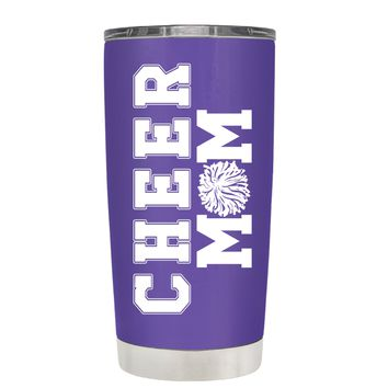 Pom Pom Cheer Mom on Purple 20 oz Tumbler Cup