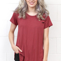 Torn to Pieces Distressed Short Sleeve {Burgundy}