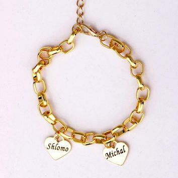 Mother's Personalized Heart Charm Bracelet Custom Made with up to 19 Names Best Gift for Mom and Kids Can YP2758