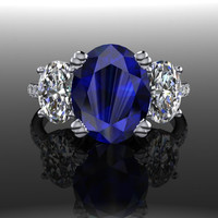 Diamond, Sapphire and Forever Brilliant Moissanite Three Stone Oval Engagement Ring 5.90 CTW