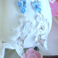 Cinderella glass slipper blue Swarovski butterfly earrings