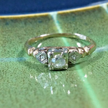 Antique Diamond Ring 14k White Gold Yellow 10pt plus 2-1pt Natural Round Cut Diamonds Girls Daughters 1st Diamonds or Ladies Pinkie Ring
