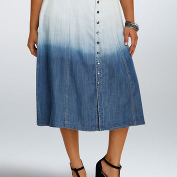 Denim Ombre Button Midi Skirt