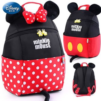 Disney 1-3 Years Baby Plush Backpack Cute Cartoon Rose Red Minni & Mickey the Mouse Plush Bag Soft Toy Children's School Bag