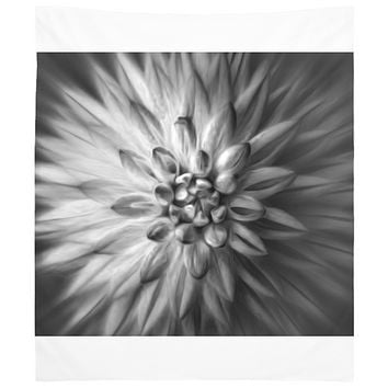 Black and White Dahlia Flower Abstract Design Tapestry Wall Hanging Meditation Yoga Grunge Hippie