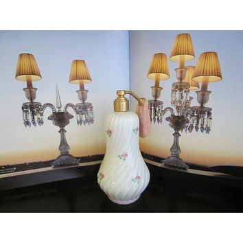 Limoges France Porcelain Roses Atomizer Perfume Bottle