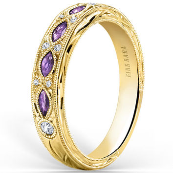"Kirk Kara ""Dahlia"" Marquise Cut Purple Amethyst Diamond Wedding Band"