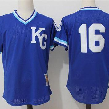 ONETOW Men's Kansas City Royals Bo Jackson Mitchell & Ness Royal 1989 Authentic Cooperstown Collection Batting Mesh Practice Jersey