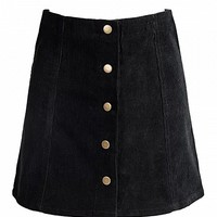 Black Velvet Button Front A-line Skirt - Choies.com