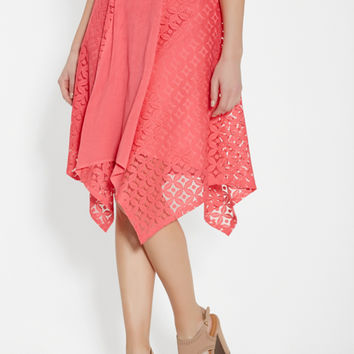 lightweight skirt with lace and hanky hem | maurices
