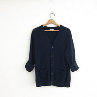 Vintage blue cardigan sweater. layering sweater. navy blue Cotton cardigan. Pockets.