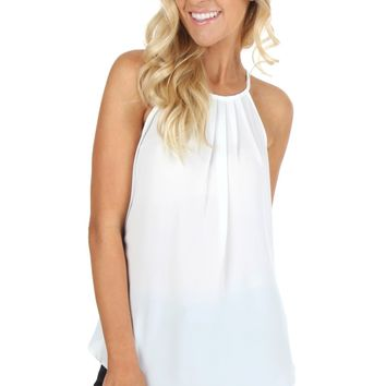 Long Pleat Tank White