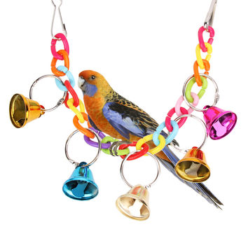 32cm Acrylic Pet Bird Bell Toys Chew Parrot Ringer Hanging Swing Cage Toy For Cockatiel Parakeet Pet Bird Supplies