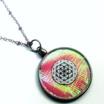 Flower of Life Pendant, Holographic Pink Pendant, Flower of Life Necklace, Pink Necklace, Holographic Jewelry, Holographic Necklace, Pink