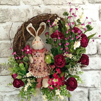 Bunny Easter Wreath, Easter Decor, Spring Wreath, Spring Decor, Silk Floral Wreath, Front Door Wreath, Easter Egg, Outdoor, Grapevine, Etsy