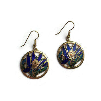 NOS Cloisonné Earrings | Blue Flower Enamel Earrings | Drop Dangle | Pierced Ears | New Old Stock Earrings | Unused Vintage 1980's Earrings