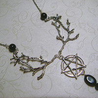 Wiccan Necklace, Gemstone Jewelry, Pagan Necklace, Black Agate, Metaphysical, Spiritual, Witchcraft, Nature Wildlife, Pentacle Pentagram Bib