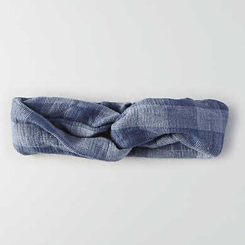 AEO Blue Plaid Headband, Blue