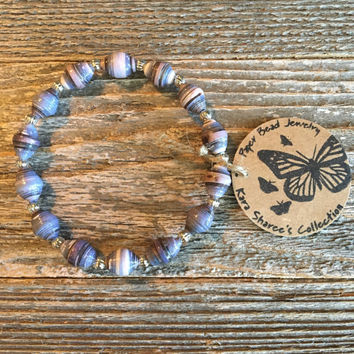 Paper Bead Bracelet, Country Blue/Cream Beaded Bracelet, Paper Bead Jewelry, Stretchy Bracelet, Gift for Women, Stocking Stuffer - Item# 058