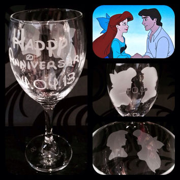 Personalised Disney Princess Ariel Silhouette Wine Glass. Free Name Engraved In Disney Font. Totally Unique Gift For Any Disney Fan!