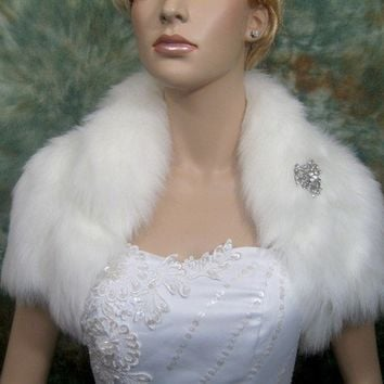 Ivory faux fur jacket shrug bolero Wrap FB003Ivory by alexbridal