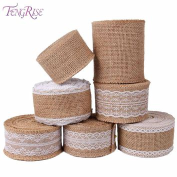 FENGRISE Burlap Ribbon 5M Vintage Wedding Centerpieces Decoration Sisal Lace Trim Jute Hessian Rustic Event Party Cake Supplies