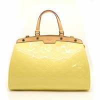Louis Vuitton Vernis Brera MM Shoulder Tote Bag Yellow