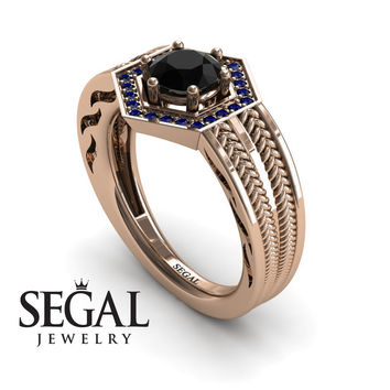 Unique Engagement Ring 14K Red Gold Vintage Art Deco Edwardian Ring Filigree Ring Black Diamond With Sapphire - Peyton